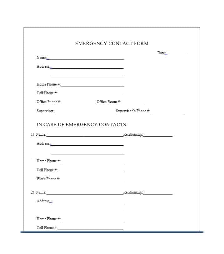 It is a graphic of Printable Emergency Contact List with storage