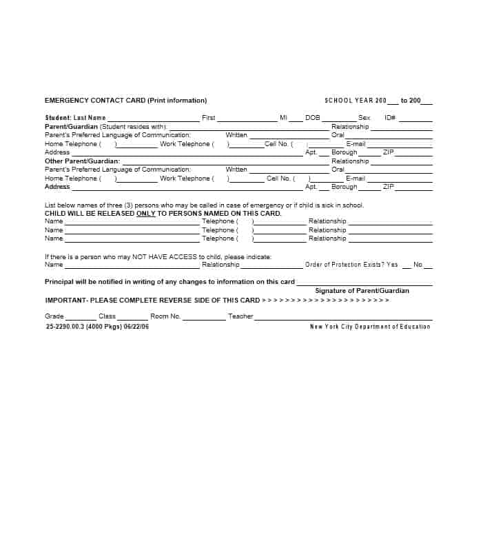 Emergency Contact Form 10