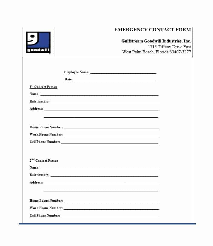 graphic about Printable Emergency Contact Form named 54 Totally free Crisis Get in touch with Styles [Worker / University student]
