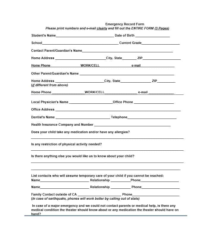 Emergency Contact Form 14