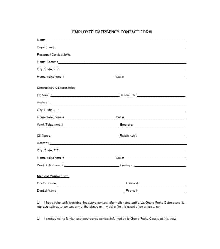54 free emergency contact forms employee student for Next of kin form template