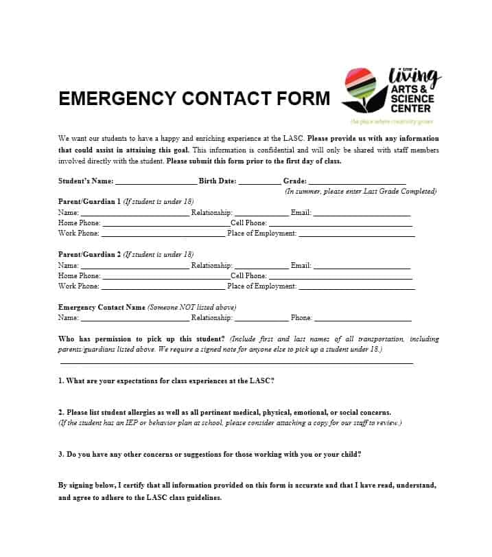 Emergency Contact Form 16