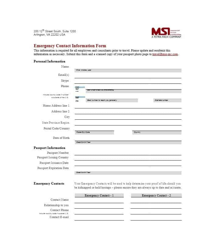 Emergency Contact Form 17  Contact Information Form Template