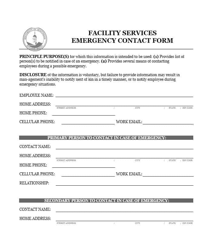 Emergency contact forms resume template sample for Next of kin form template