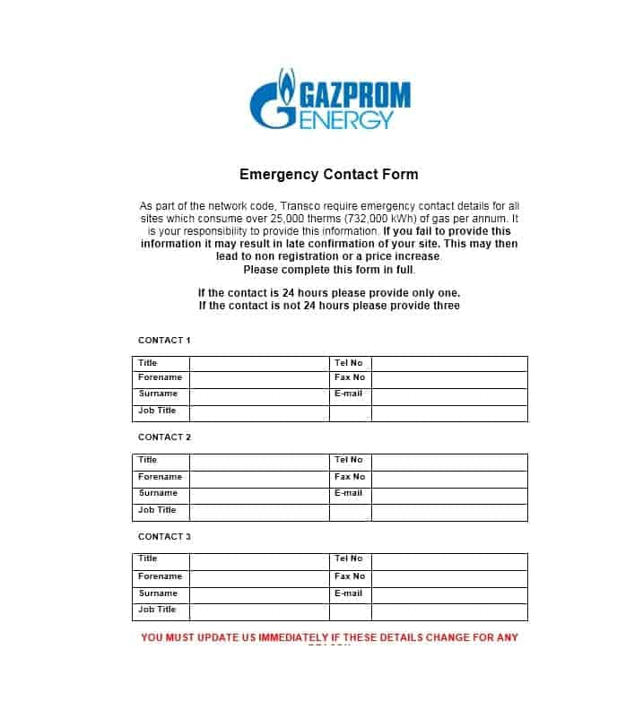 Emergency Contact Form 24