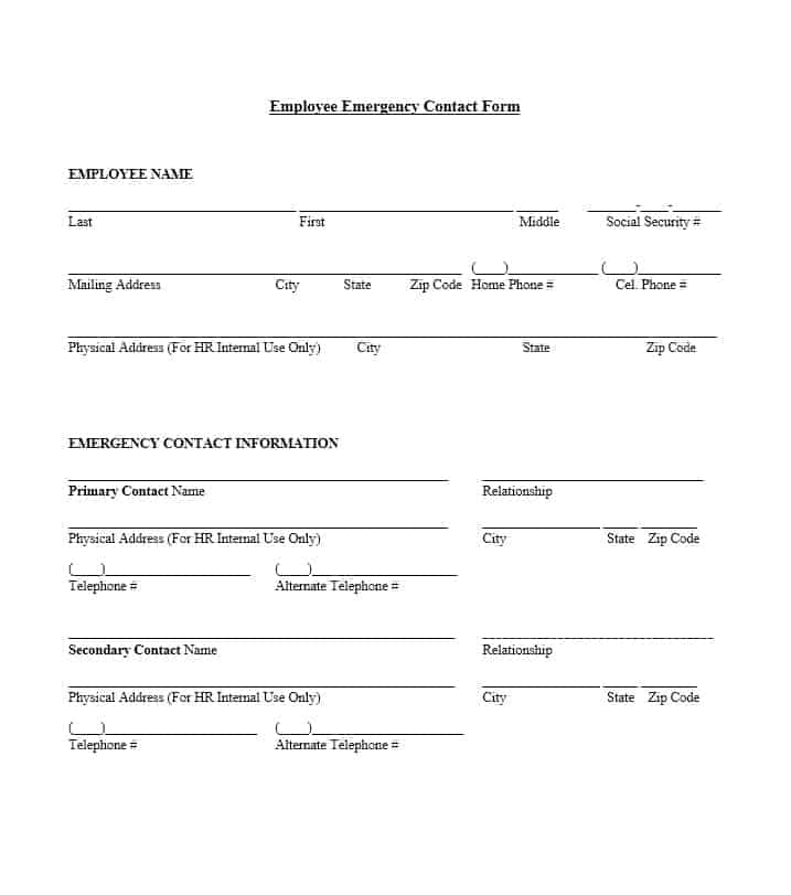 image relating to Printable Emergency Contact Form identified as 54 Free of charge Unexpected emergency Get in touch with Varieties [Worker / College student]