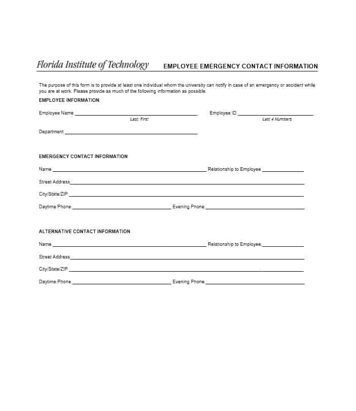 Employment Contact Information Form PrintableContactPrintable