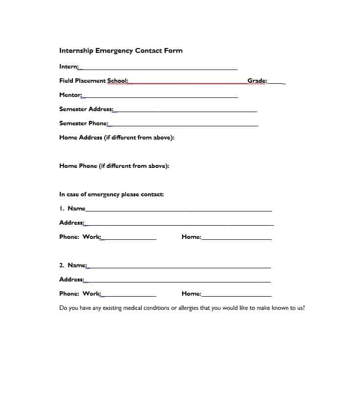 Emergency Contact Form 28