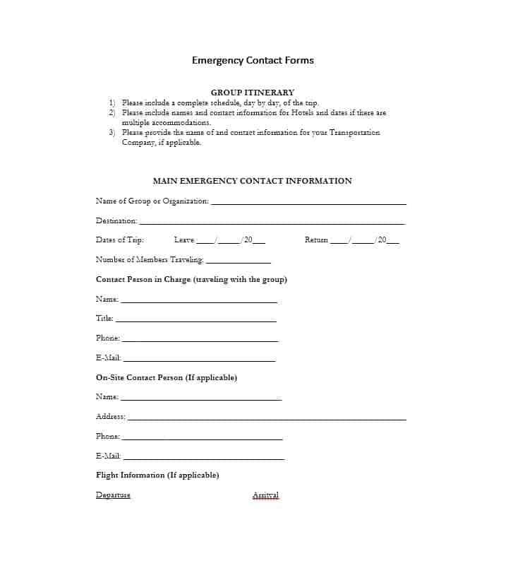 Emergency Contact Form 29