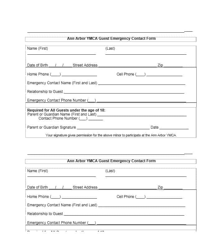 Emergency Contact Form Template  Resume Ideas  NamanasaCom