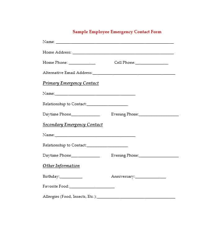 Emergency Contact Form 34