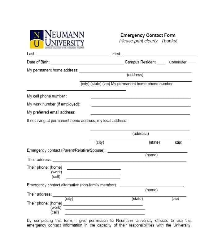 Free Emergency Contact Forms Employee  Student
