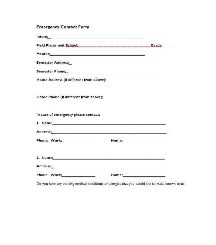 Emergency Contact Form 36