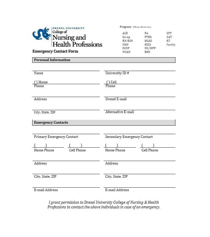 Emergency Contact Form 37