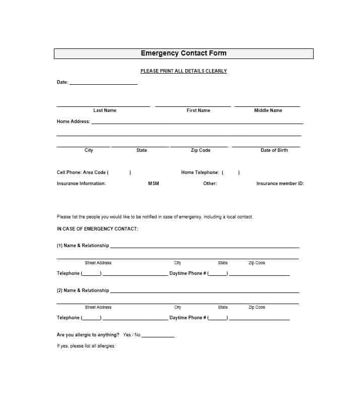 Emergency Contact Form 39