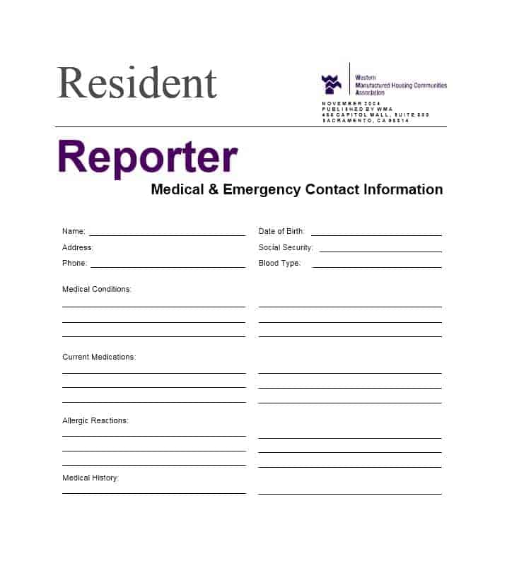 Emergency Contact Form 40