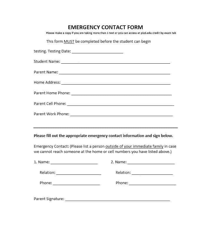 Emergency Contact Form 44