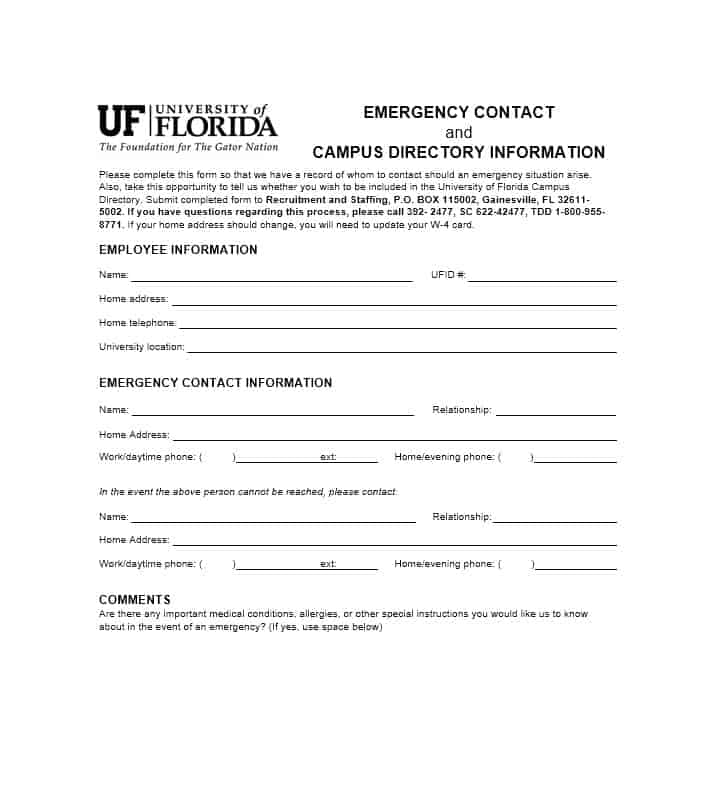 Emergency Contact Form 45  Contact Information Template