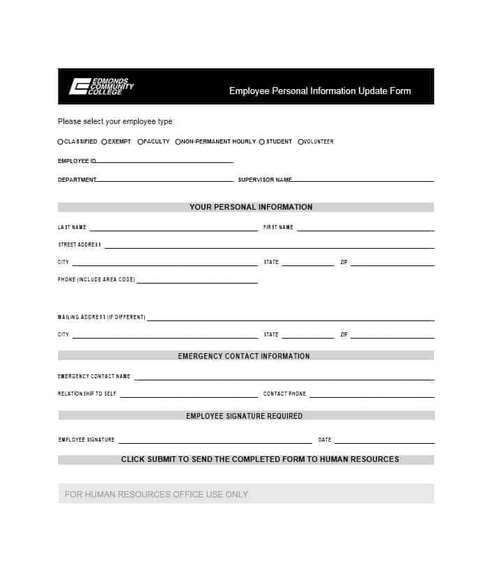 Employee availability form template for Update contact information form template