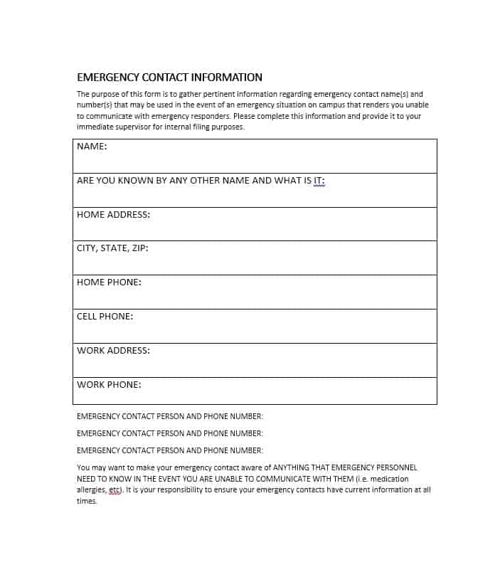 Emergency Contact Form 51