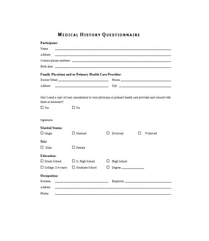 59 health history questionnaire templates family medical