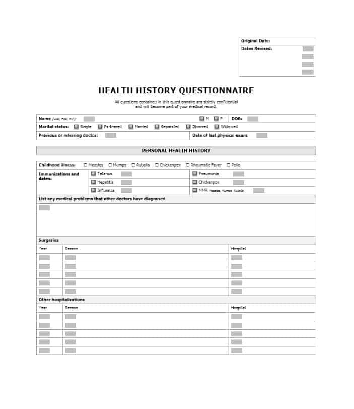 Health History Questionnaire Templates Family Medical