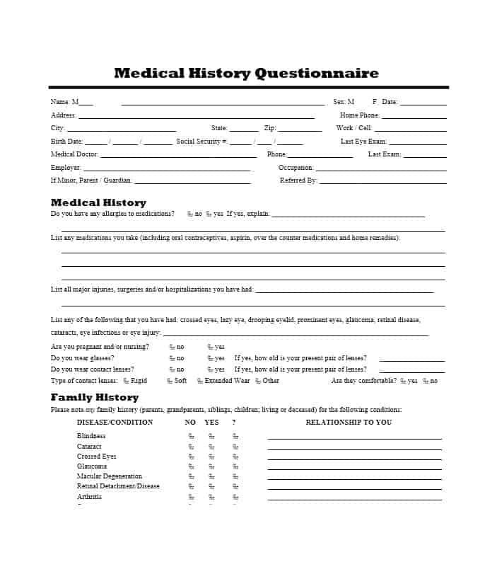 Health History Questionnaire Template 10