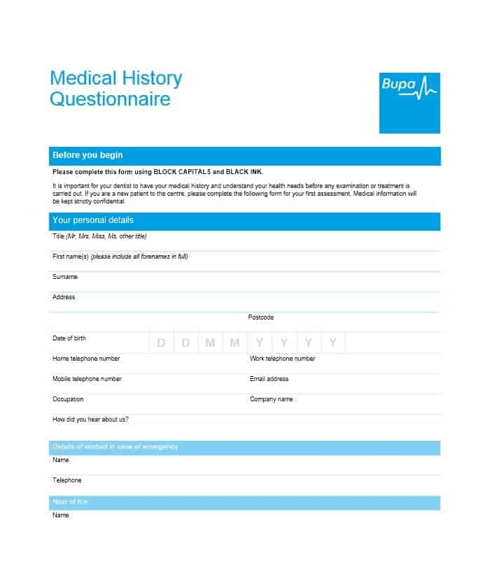 Health History Questionnaire Template 12