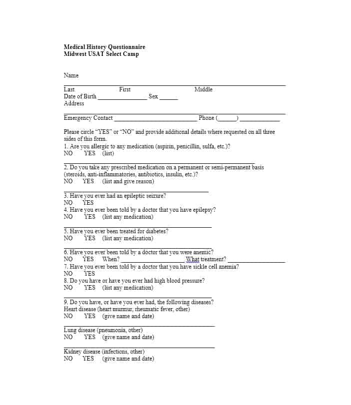 Health History Questionnaire Template 13