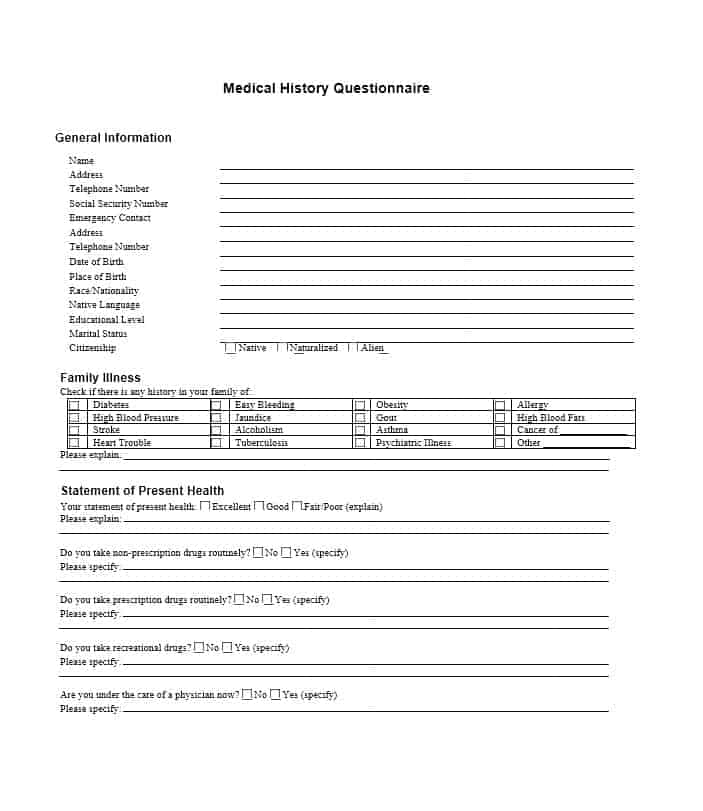 Health History Questionnaire Template 14