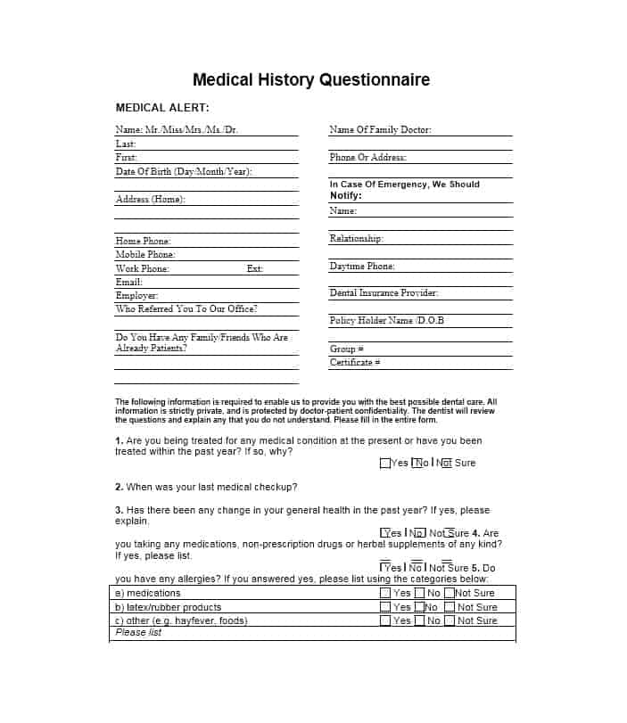 Health History Questionnaire Template 15