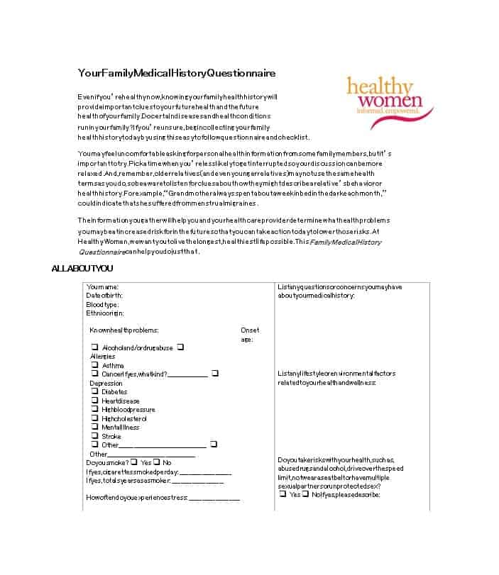 Health History Questionnaire Template 17