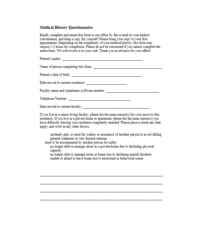 Health History Questionnaire Template 22