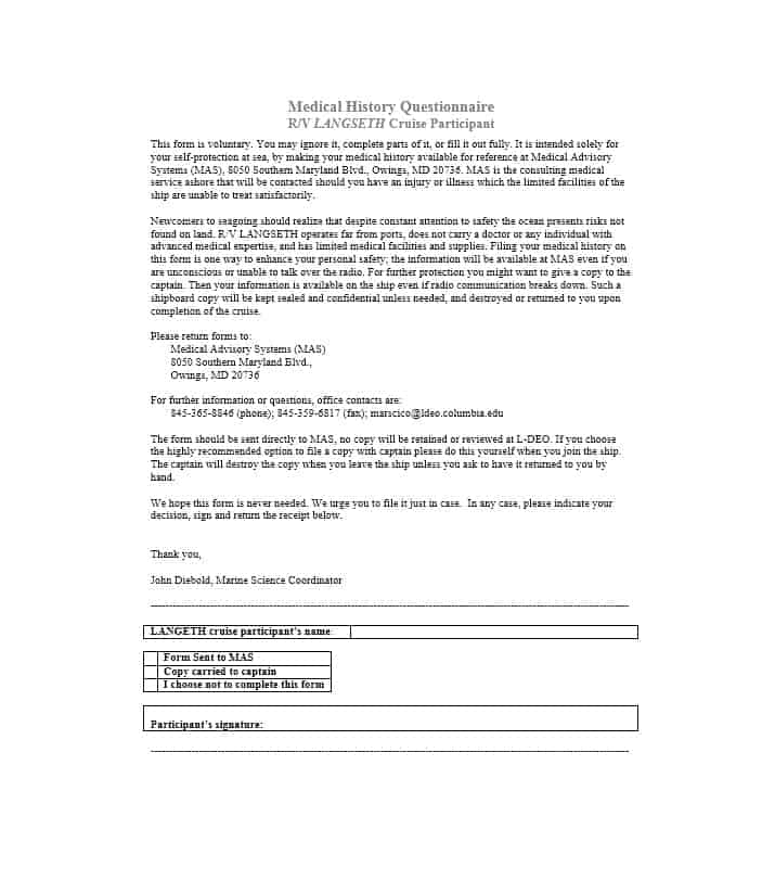Health History Questionnaire Template 25