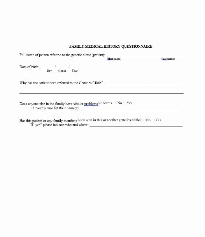 Health History Questionnaire Template 26
