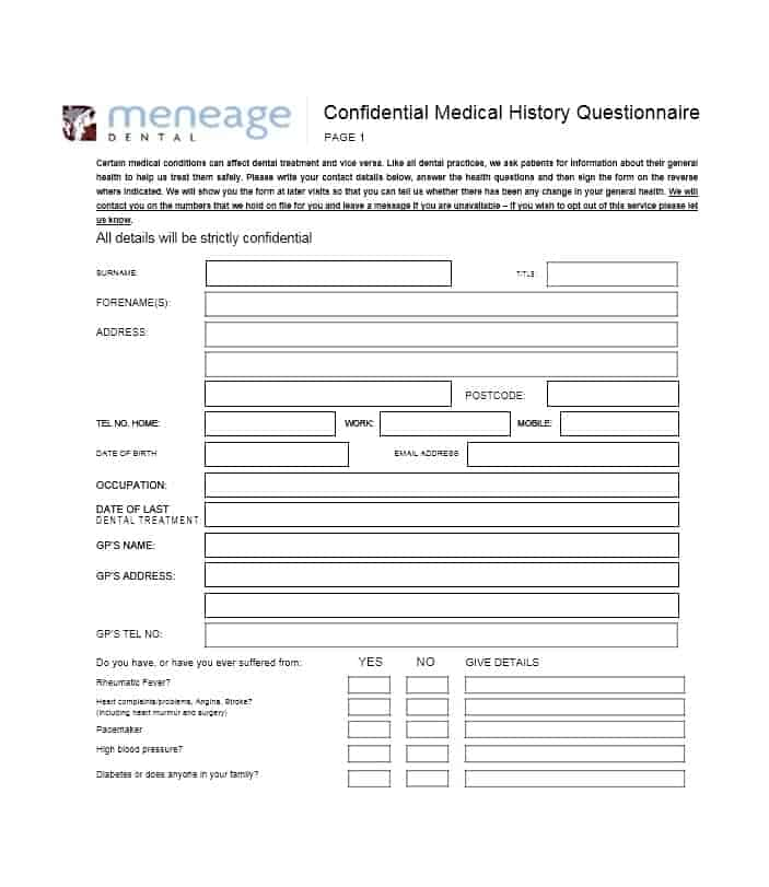 Health History Questionnaire Template 27