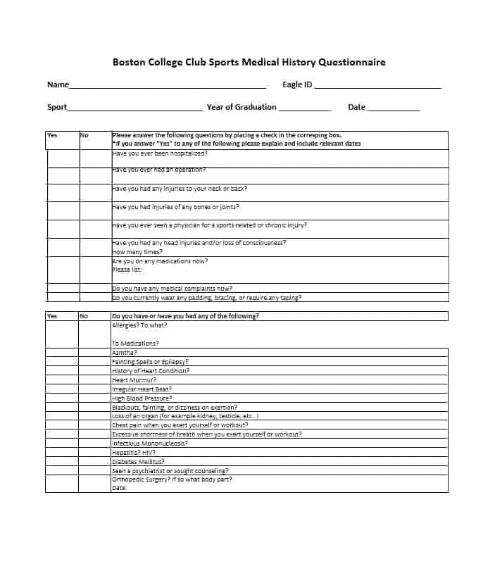Health History Questionnaire Template 31