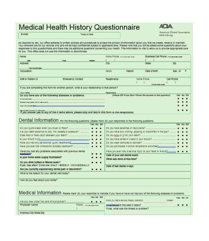 Health History Questionnaire Template 33