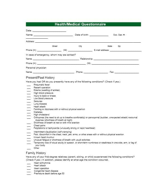 Health History Questionnaire Template 45