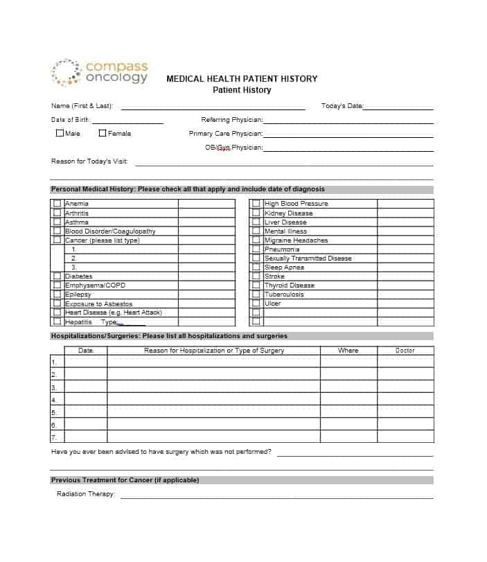 Health History Questionnaire Template 46