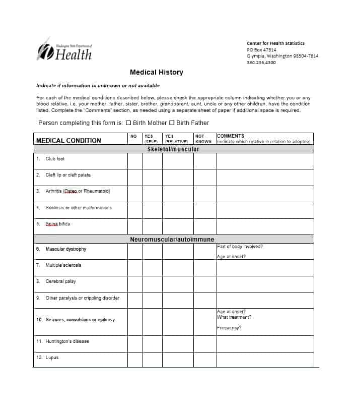Health History Questionnaire Template 49