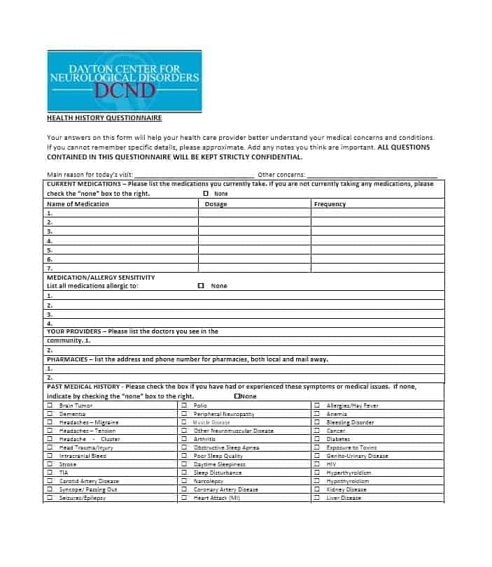 Health History Questionnaire Template 58