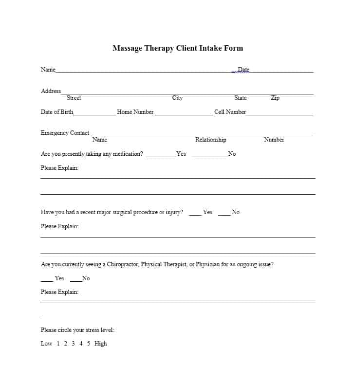 Massage Intake Form Template 01