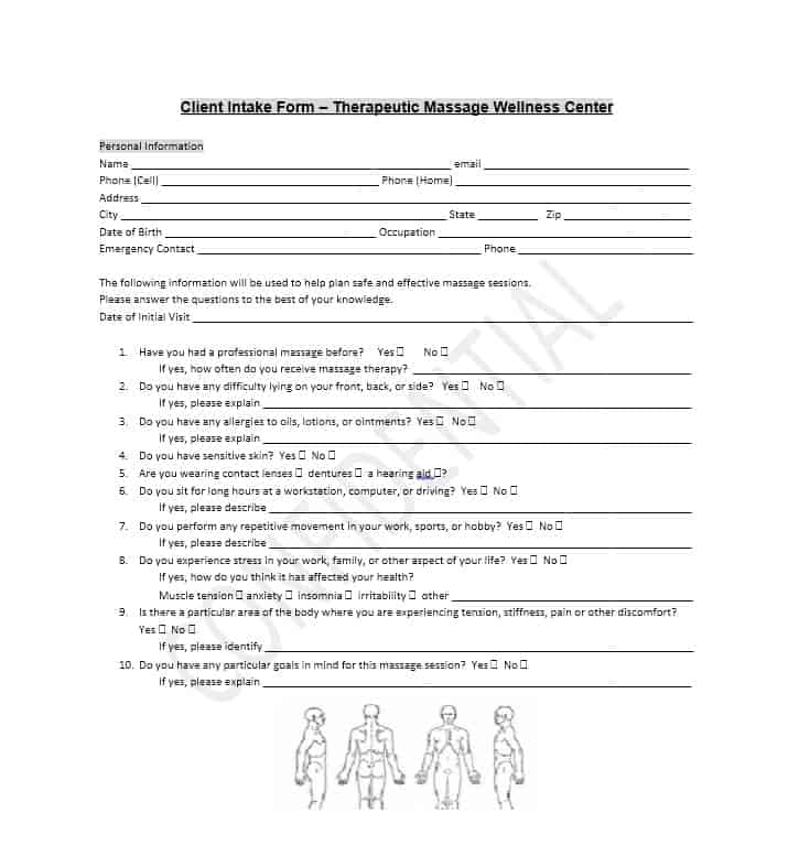 Best Massage Intake Forms For Any Client  Printable Templates