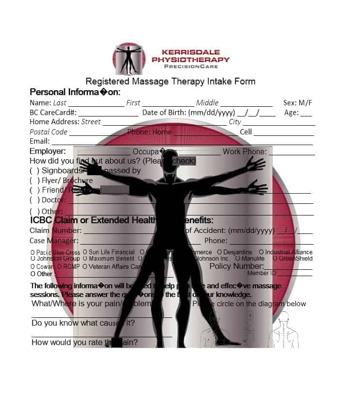 Massage Intake Form Template 03