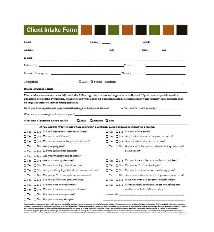 Massage Intake Form Template 05