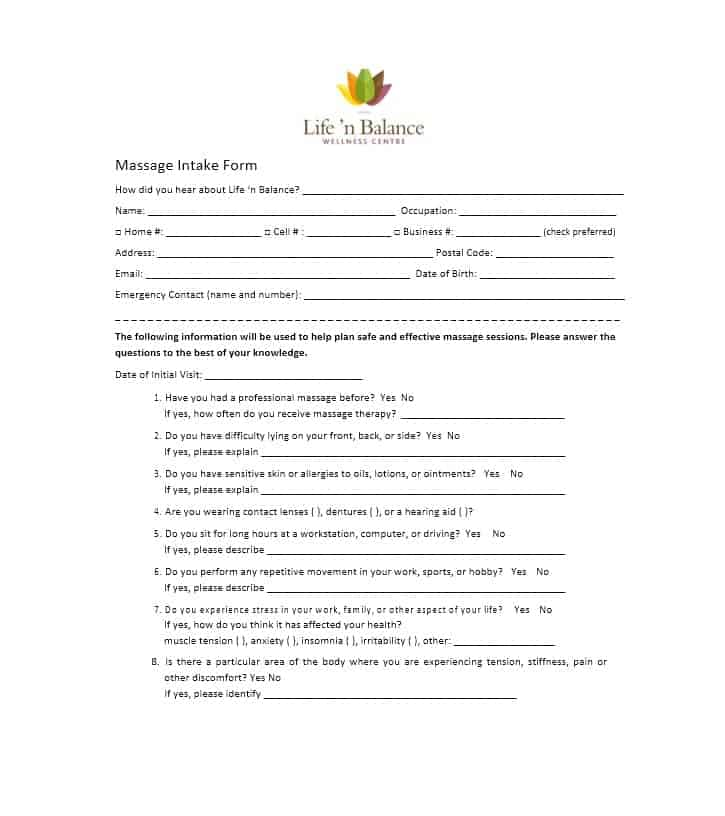 Massage Intake Form Template 07