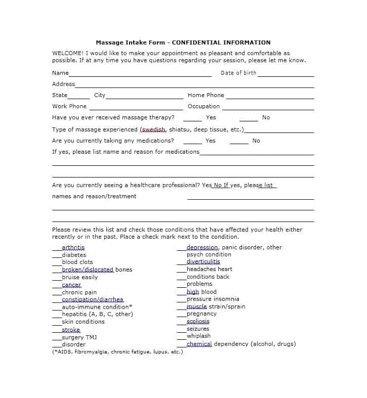 Massage Intake Form Template 09