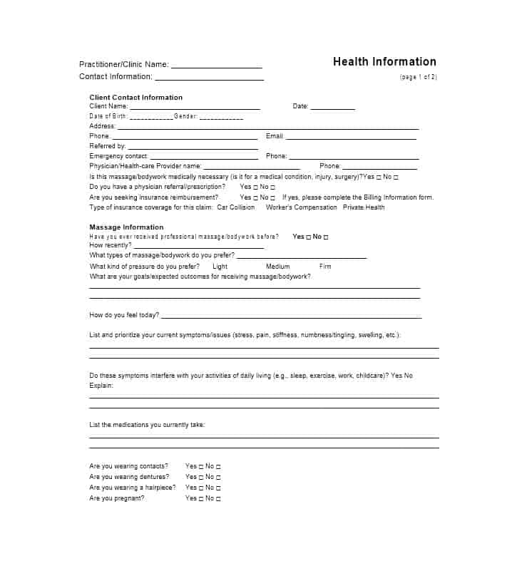 Massage Intake Form Template 10