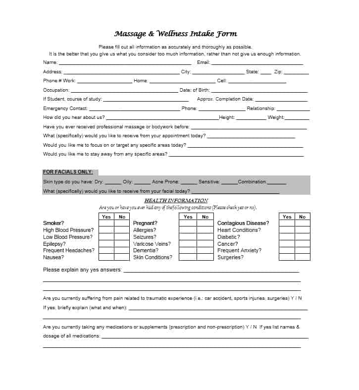 Massage Intake Form Template 11